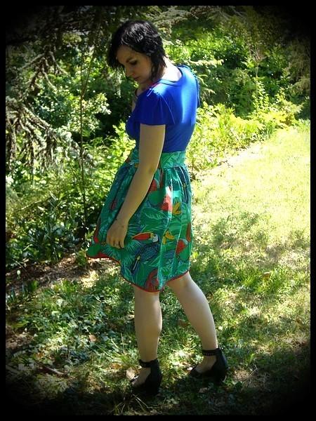 Royal blue dress tropical print - size M