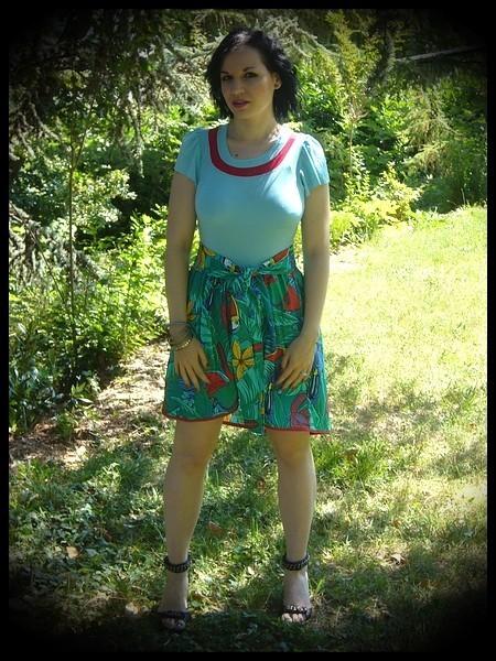 Azur blue dress tropical print - size S