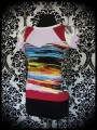 Multicolored stripe top red/lilac yoke - size S/M