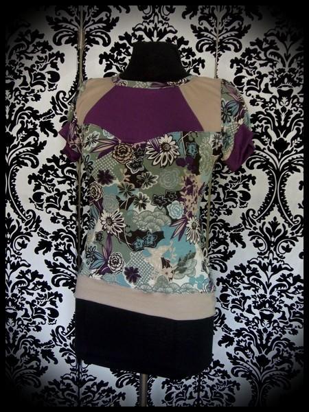 Haut imprimé floral plastron beige/violet - taille S/M