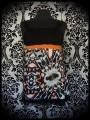 Haut noir orange imprimé kaléidoscope - taille M/L