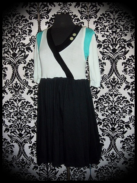Black/mint/aqua green dress - size S/M
