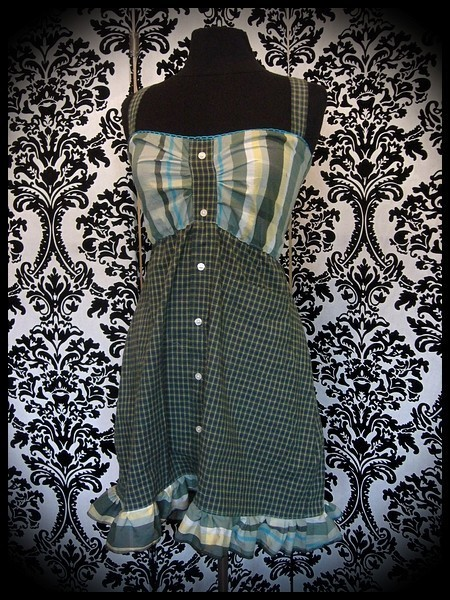 Khaki green turquoise dress plaid print - size S/M