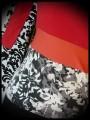 Haut rouge orange gris noir motif floral - taille XS/S
