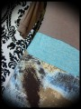 Beige turquoise blue brown top - size S/M