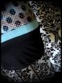 Robe à poche noire tissu imprimé turquoise/gris - taille S/M