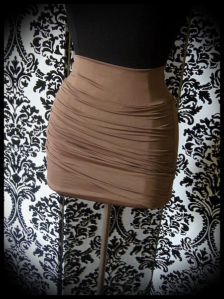 Tobacco brown draped mini skirt - size S/M