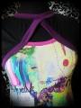 Multicolored top black/purple sewn-in shrug - size S/M