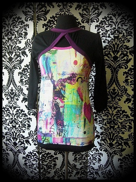 Multicolored top black/purple sewn-in shrug - size S/M