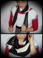 Black ivory scarf cream fake fur