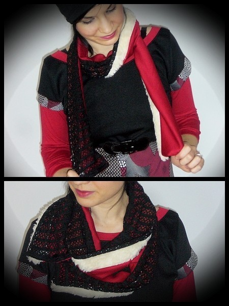 Black red scarf cream fake fur
