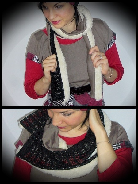 Black taupe scarf cream fake fur