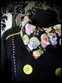 Veste noire détails jaunes motifs calaveras - taille S/M