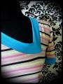 Cream dress Threadless asymmetrical neckline stripes - size M/L