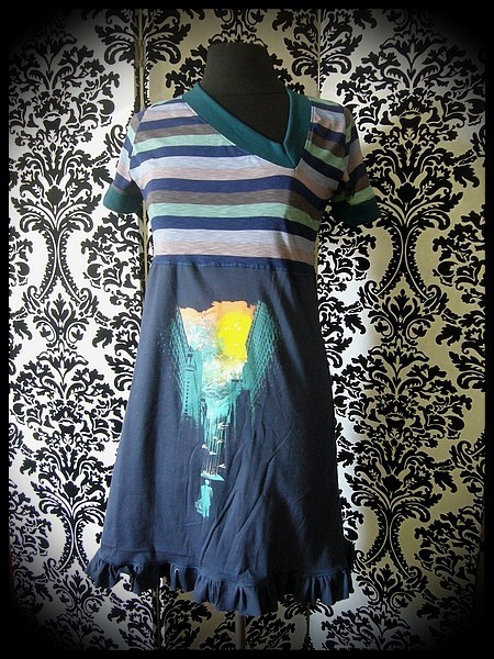 Blue dress Threadless asymmetrical neckline stripes - size S/M
