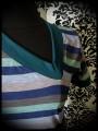 Robe bleue Threadless buste rayé décolleté asymétrique - taille S/M