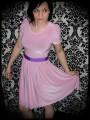 Dust pink dress purple ribbon belt - size S/M