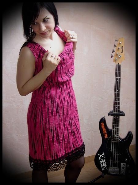 Hot pink black striped dress - size S/M