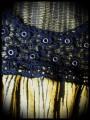 Yellow black striped top crochet back - size M/L