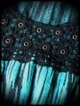 Turquoise blue black striped top crochet back - size S/M