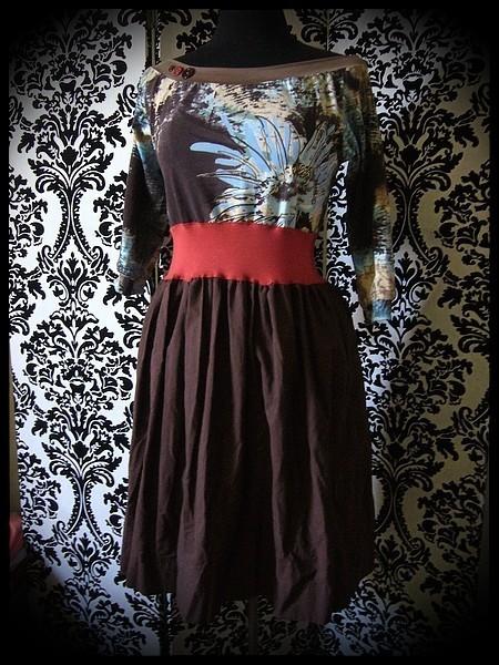 Brown/beige/rust dress floral print - size L/XL