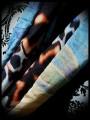 Sky blue silk tubular scarf black/orange/blue lining