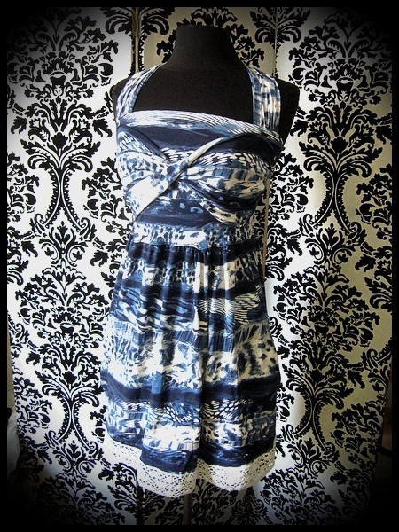 Robe à poches bleue blanche - taille S