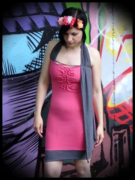 Robe rose détails gris - taille S