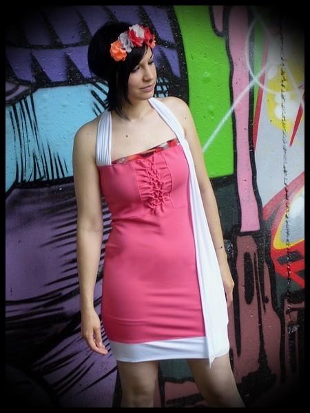 Pink halter dress white details - size M
