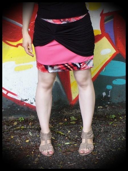 Mini jupe rose drapé noir - taille S/M