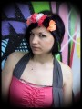 Crown headband w/ orange pink grey white black flowers