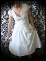Retro cream dress with big bow - size XS/S