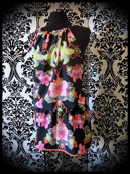 Black loose dress tropical flowers print - size M/L