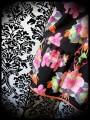 Robe fluide noir motif fleurs tropicales - taille M/L