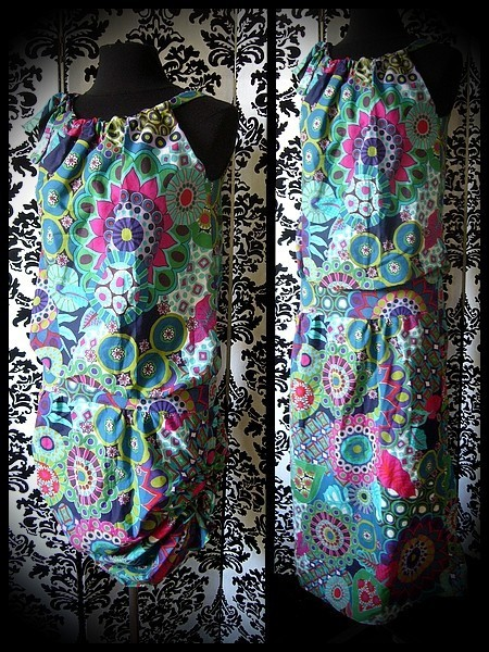 Multicolored loose dress adjustable length - size S/M