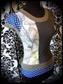 Haut à empiècements gris kaki bleu roi motifs fleurs / pois - taille S/M