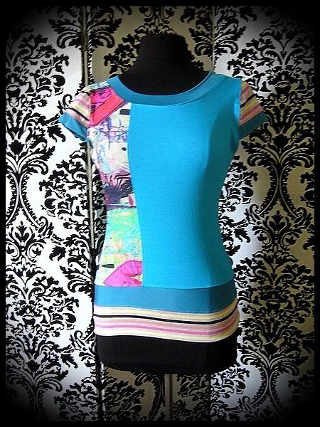 Haut à empiècements turquoise bleu canard motifs multicolore / rayé - taille S/M