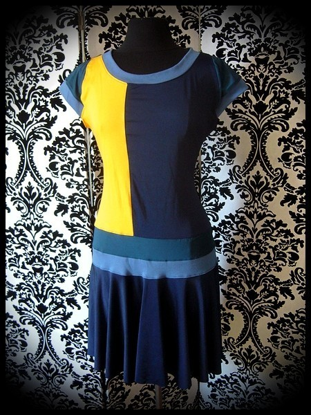 Color block midnight blue yellow dress - size M/L