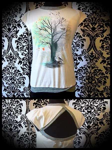Top with open back grey green details - size S/M