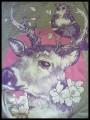 Grey top with open back purple/black plaid details - size S/M