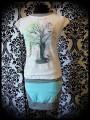 Mini jupe menthe empiècements blanc et gris - taille S/M