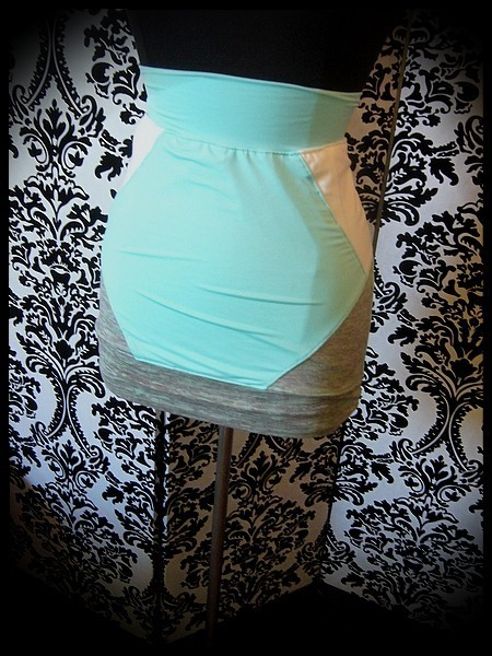 Mint mini skirt white and grey details - size S/M