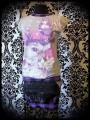 Mini jupe noire empiècements gris et carreaux violet - taille S/M