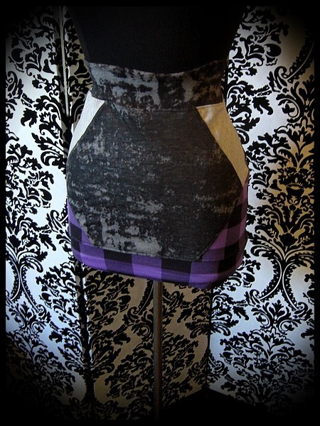 Black mini skirt grey and purple/black plaid details - size S/M