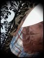 Brown mini skirt cream and blue/brown plaid details - size M/L