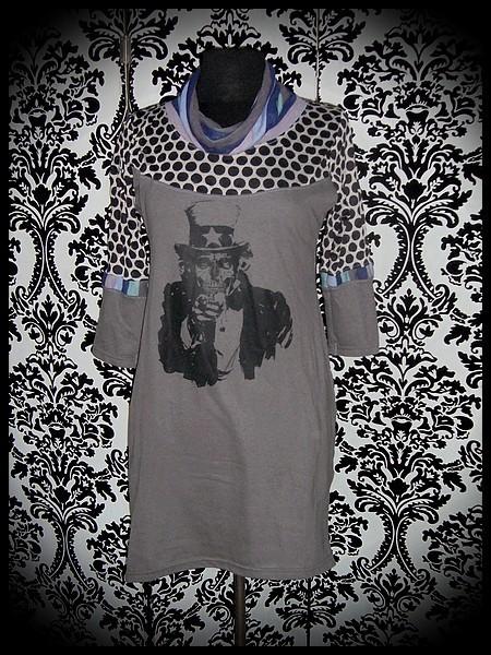 Robe gris foncé Oncle Sam zombie détails rayé - taille S/M