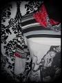 Robe gris clair femme pieuvre détails rouges - taille M/L