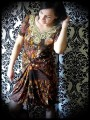 Brown yellow black dress with golden applique - size S/M