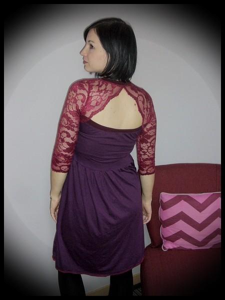 Purple dress dark red lace open back - size S/M